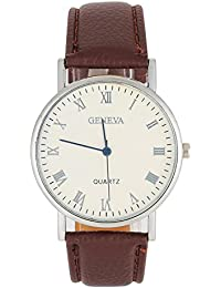Business Wrist Watch, Simple Couple Watch With PU Leather Strap And Blue Light Round Dial Watch For Gift(#-Brown...