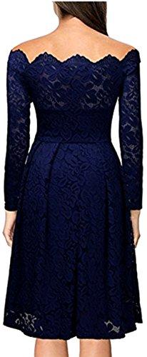 Meyison Damen Vintage 1950er Off Schulter Spitzenkleid Knielang Festlich Cocktailkleid Abendkleid Rockabilly Kleid Gr.34-48 Blau