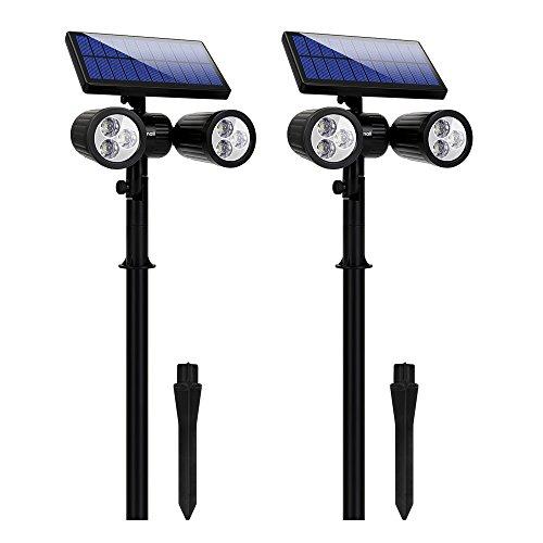 Lámparas Solares Farola Jardín Solar Focos LED Exterior 6 LEDs Luces Impermeable...