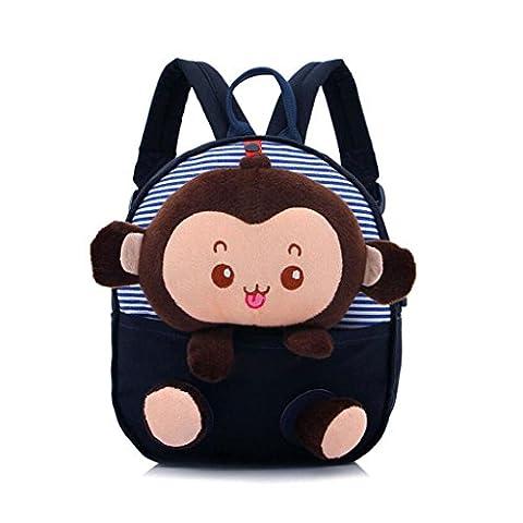 Gwell Sac à dos Singe Sac Enfant bébé Sac d'école Mini-sac à dos Maternelle Monkey Bleu foncé