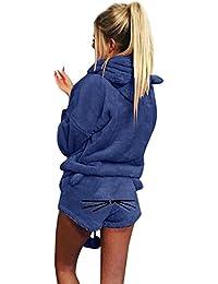 Sudadera con capucha para mujer, diseño de pijama de dos piezas en otoño e invierno