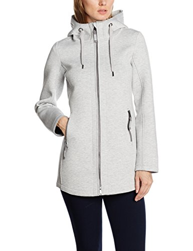 TOM TAILOR Damen Trainingsjacke Bonded Jersey Jacket, Grau (Light Silver Melange 2051), 38 (Herstellergröße: M)