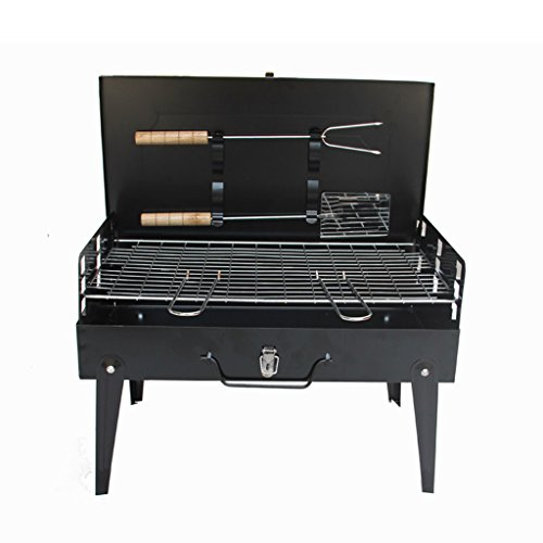 YONG@ Type de valise d'outils de barbecue de charbon de bois de barbecue de gril de noir de plein air pliable