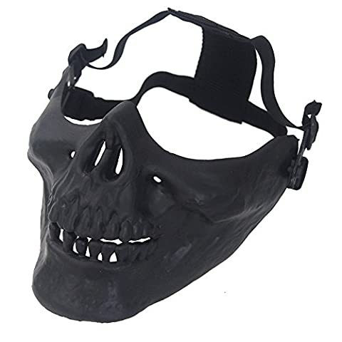 aiyuda Totenkopf Skelett Half Face Maske Hard Schutz Gear für Airsoft Paintball Jagd CS Planspiel Masquerade Kostüm Party Halloween, Herren, (Gears Of War Kostüme Halloween)