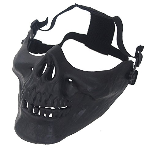 aiyuda Totenkopf Skelett Half Face Maske Hard Schutz Gear für Airsoft Paintball Jagd CS Planspiel Masquerade Kostüm Party Halloween, Herren, (Kostüm Warrior Demon)