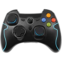 EasySMX [Mando PS3 PC] Videojuego Controlador Gamepad Inalámbrico Mando Wireless para PC y PS3 (2.4GHz, 2 Joystick y 2 Trigger, 18 Botones, Plug y Play) Compatible con Windows XP y Vista, Windows8, PS3, Android y Operación Rango hasta 10M (Azul)