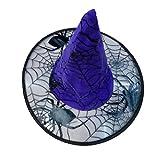 Mitlfuny Hexenhut Mit Motiv Spinne Und Spinnennetz,Schwarzer Hexenhut FüR Damen Halloween Horror Party Schwarz Hexe Hut Kopfbedeckung (Blau)