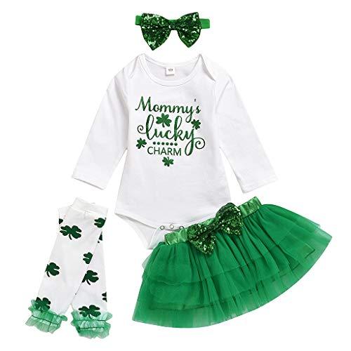 Dance Stirnbänder Irish Kostüm - A-Artist Baby Tutu Rock Langarm Klee St. Patricks Day Irish National Day Brief Harness + Solid Color Puffy Tutu Rock + Stirnband + Sock Set Für Geschenke
