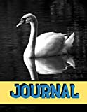 "Journal: White Swan Black And White Writing Gift - Lined NOTEBOOK, 130 pages, 8.5"" x 11"""
