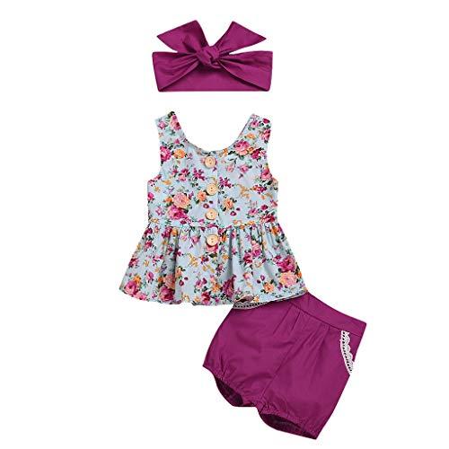 Pwtchenty Ärmellose Blumendruck Weste Top + Volltonfarbe Shorts + Haarband Kleinkind Baby Mädchen Kleidung Set