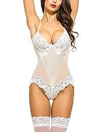 151b38b541 Zooma Plus Size Lace Lingerie Bodysuit Teddy Babydoll Ladies Transparent  Sleepwear with Suspenders Belt (S