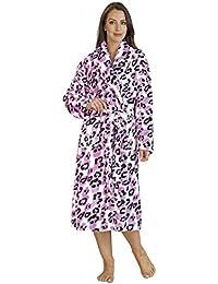 Womens Indigo Sky Satin Reversible Long Sleeve Dressing Gown Wrap Floral Print