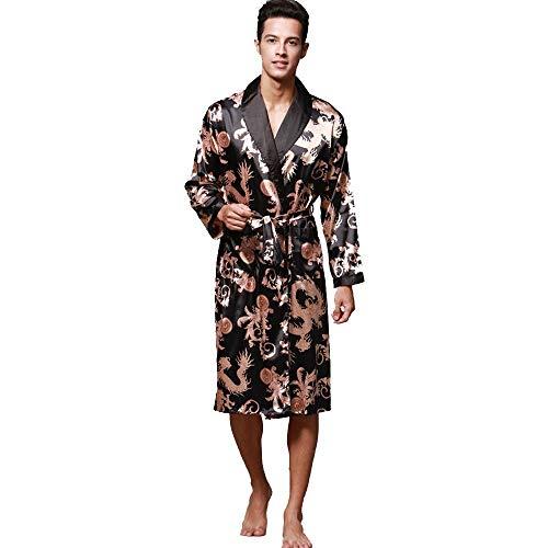 Geilisungren Hombre Pijama Bata de Baño Albornoz Kimono Pijama para Hombre Largo Camisón Robe Bata...