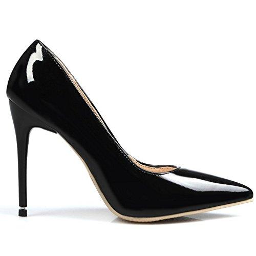 TAOFFEN Femmes Classique Bout Pointu Escarpins Bas A Enfiler Chaussures Aiguille SM Noir