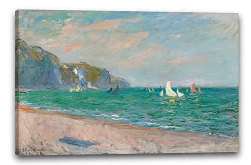 Impresión Sobre Lienzo (120x80cm): Claude Monet - Barcos en Frente de los acant
