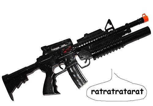 (Unbekannt Kindergewehr - Spielzeuggewehr _ schwarzes Gewehr / Maschinengewehr mit SCHUSSGERÄUSCH - aus Kunststoff - Spielzeug - für Kinder - Pistole Waffe Militär - Kar..)