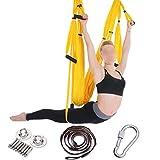 Sixminyo Hamaca de Yoga aérea 6 Hamaca for Ejercicios de Estilo de Hong Kong de Gravedad inversa sin Tiradores con Correa de extensión y Placa for Colgar (Color : Bright Yellow Full Set)