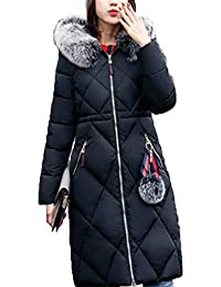 HANMAX Manteau de Coton Chaude Grande Taille Doudoune Femme Hiver Mi-Longue  avec Capuche Fourrure ab3c8f8d5397