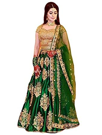 MR Fashion Women's Satin Anarkali Salwar Suit Set (Green, Standard)