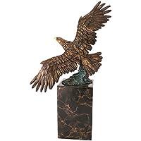 In bronzo massiccio Eagle Sculpture (Volare) sulla base di marmo - Aquila Scultura In Bronzo