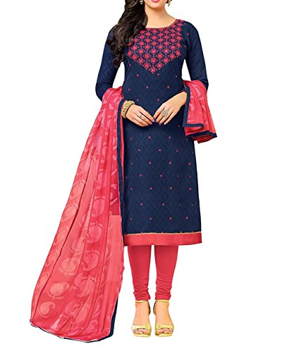 Globalia Creation dress materials for women in cotton (Dresses 12DRD15011_Navy Blue