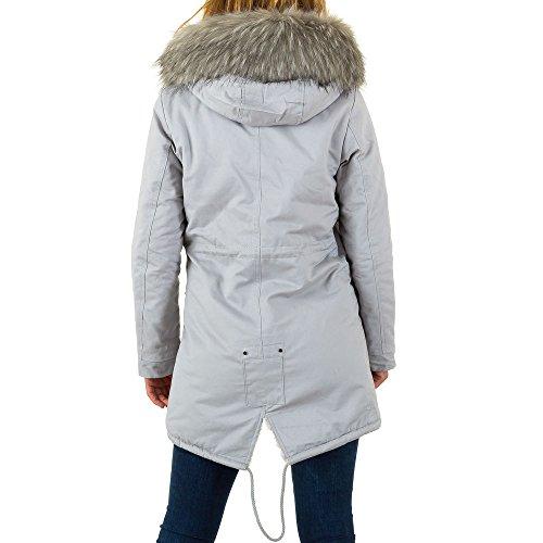 Langer Perlenstickerei Fellimitat Parka Jacke Für Damen bei Ital-Design Grau