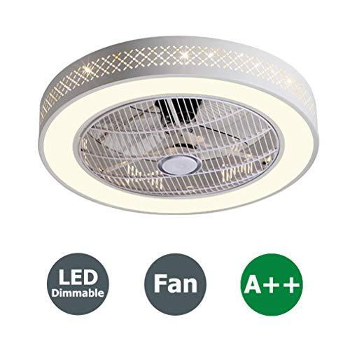 Deckenventilator Fan LED Deckenleuchte mit Fernbedienung Dimmbar Kreative Moderne Leise Deckenventilator Schlafzimmer Lampe Kinderzimmer Deckenlampe Wohnzimmer Beleuchtung, Ø55cm, 96W - Bad-fan Ruhiges Licht Mit