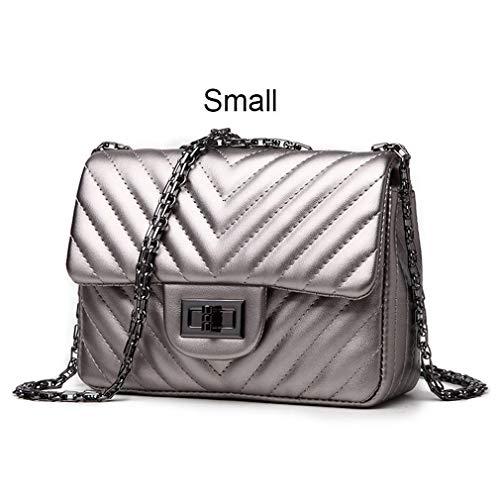 ANANXILA Kleine Schultertasche Lady V Streifen Crossbody Taschen Frauen Messenger Small Silver -