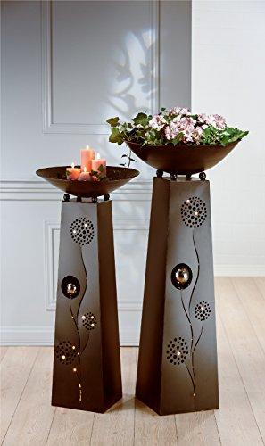 1 x Schalenständer Pusteblume Ständer m. Schale Metall dunkelbraun Höhe 102 cm