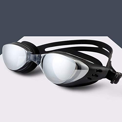 UNKB Männer und Frauen Sommer Schwimmen Beruf Schutzbrillen Beschichtung Triathlon Schwimmbrille Mode Verfärbung HD Sichtfeld Anti-Fog Abnehmbare Brücke der Nase Schwimmbrille (Color : Black)