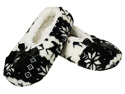 Ferocity Ballerina Hausschuhe Winter Warme Dicke Plüsch Pantoffeln Damen Gefütterte mit Teddyfutter und Antirutschsohle Slippers 35-38 Black [068]