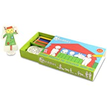 CARDDIES FARM CARD PEOPLE Colour and Play Set - Portable Art Kit with Sturdy Card Farming People and Animals & Farmyard Playscene for Colouring-in Creativity, Imagination, Pretend Play and Story Telling - Premium Colouring Pencils and Plastic Stands - Perfect Travel Toy