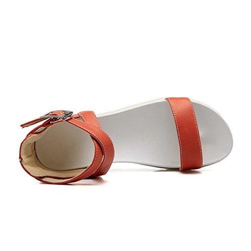 VogueZone009 Femme Ouverture D'Orteil Boucle Couleur Unie à Talon Bas Sandales Orange