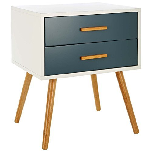 """LOMOS table de chevet """"Odin"""" en bois blanc avec deux tiroirs dans un ton gris moderne"""