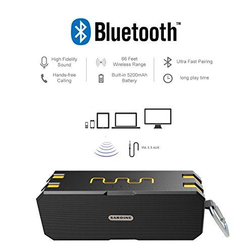Bluetooth Lautsprecher, Wirezoll Wasserdicht 12W Speaker mit 5200mAh Batterie, Schwarz & Rot ( Bass Verstärker , IP65 Wasserfest , Staubdicht , Stoßfest , Freisprecheinrichtung ,TF Karte Unterstützt ) Schwarz & Gelb - 3