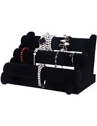 Juvale Soporte de joyería de Terciopelo – 3 Niveles joyería Pulsera Collar Expositor, Negro 12 x 9 x 7 Pulgadas