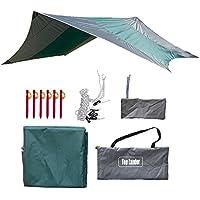 Impermeable Camping Hamaca Rain Fly Ultralarge Carpa Tarp Cover Ligero Lágrima Resistente Portátil Hexagonal Tarpaul Sun Shelter Toldo con Clavijas y Cuerdas