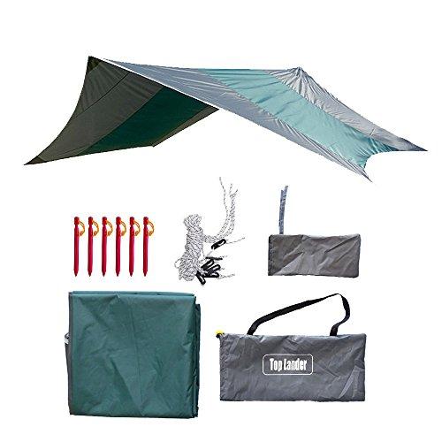Anti-pioggia tenda parasole campeggio tenda da sole set-sovradimensionato leggero e portatile impermeabile, con bulloni di ancoraggio e funi antivento, perfetto kit di baldacchino esagonale (verde)