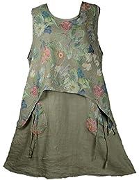 Damen florales Rosen Sommerkleid Tunika Kleid 100/% Leinen Taschen M-L 40//42