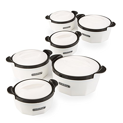 Cookshop Fiona Set of 6 Insulated Dishes with Lids in 3 Sizes ? Keep Food Warm and Cold