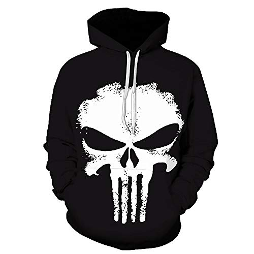 Punisher 3D Gedruckter Hoodie Cosplay Kostüm Herren Sportswear Fashion Sweater Baseball Uniform A-XXXL
