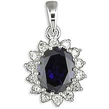 One Blank con Zafiros azules y brillantes con forma de diamantes CZ Cluster Oval de plata