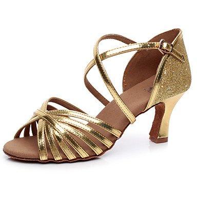 XINJING-S Funkelnden Glitter Damen Tanzschuhe Latein/Salsa/Samba Kunstleder  Ferse Gold Gold