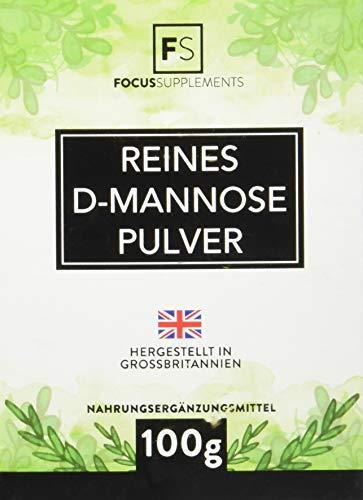 D-Mannose 100 % reines Pulver,  Natürliche Entgiftung der Blase,  OHNE ZUSATZSTOFFE - Verpackt in ISO-zertifizierten Betrieben in GB (100g)