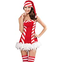 ZLMDS Sexy Miss Sweetie Santa Reindeer Games Christmas Costume Fancy Dress