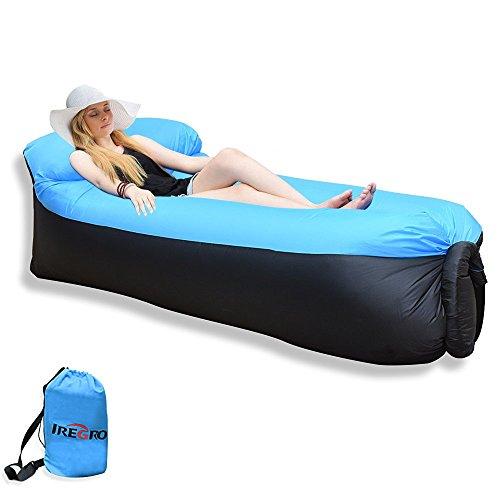 Sofa Hinchable IREGRO tumbona inflable cama con almohada integrada, portátil impermeable 210T poliester aire sofá inflable Sillón, Tumbona de playa cama de aire para viajar, piscina, Camping, parque, playa, patio trasero
