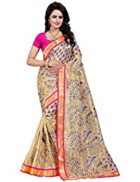 SATYAM WEAVES WOMEN'S ETHNIC WEAR EMBROIDERY NET JARI ROYAL BLUE COLOUR SAREE WITH EMBROIDERED BLOUSE PIECE.