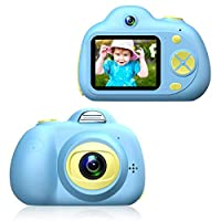 Kids Digital Camera for 4-10 Year Old Girls Boys, Mini 2.0 Inch Cartoon Pink Rechargeable Camera Shockproof 1200MP 1080P Dual Lens Photo/Video Cameras with 4X Zoom, Flash Lights, Auto Focus
