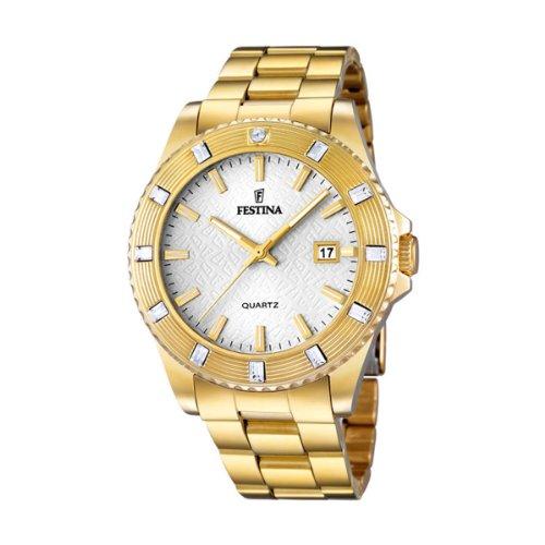 Festina  Vendome - Reloj de cuarzo para mujer, con correa de acero inoxidable chapado, color dorado