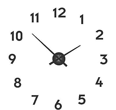 NeXtime Small Hands Orologio da Parete, da Cucina, da Ufficio, da Soggiorno, Decorazioni, Alluminio, Nero e Numeri Adesivi Neri, Ø 40 cm, 3074zw